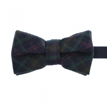 Checked Blue and Green Wool Bow Tie